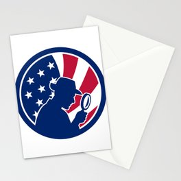 American Private Investigator USA Flag Icon Stationery Cards