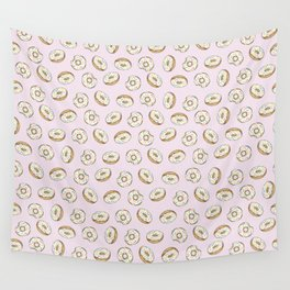 Rainbow Sprinkle Donuts on Pink Wall Tapestry