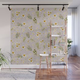 White Daisies Field Pattern Flowers Wall Mural