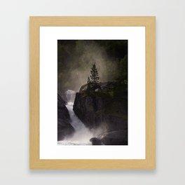 Sunlit waterfall detail in Norway Framed Art Print