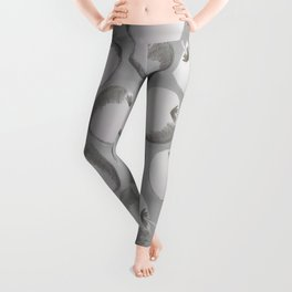 Artistic Abstract Gray White Apples Pencil Sketch Leggings