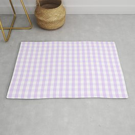 Chalky Pale Lilac Pastel and White Gingham Check Plaid Rug