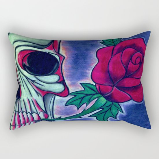 Skull & Red Rose Rectangular Pillow