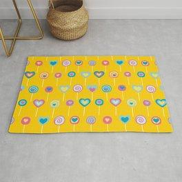 Yellow lollipops sweet love Rug