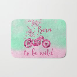Artsy colorful flower power motorcycle Bath Mat