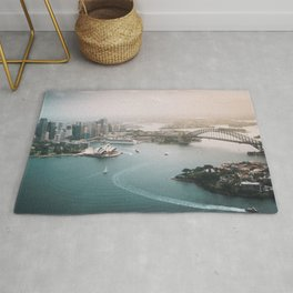 Sydney Opera House Harbour Bridge | Australia Aerial Travel Photography Rug