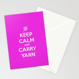 Keep Calm and Carry Yarn - Fuschia Solid - Crochet Stationery Cards