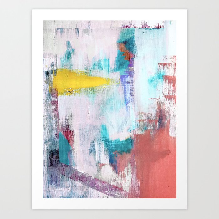 Colfax An Interesting Vibrant Abstract Mixed Media Piece In A Variety Of Colors Art Print