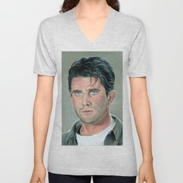Mel Gibson portrait with dry pastels Unisex V-Neck
