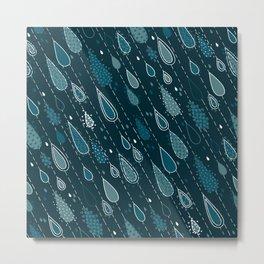 Dark Cyan Rain Drops Metal Print