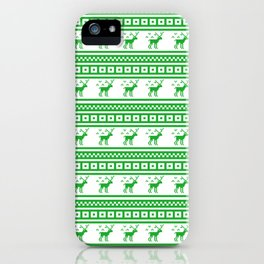 Green Reindeer Christmas Pattern iPhone Case