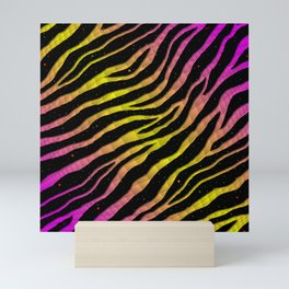 Ripped SpaceTime Stripes - Pink/Yellow Mini Art Print