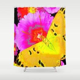 MODERN ART YELLOW BUTTERFLIES & FUCHSIA PINK FLOWERS Shower Curtain