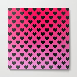 Black Hearts with Red-Pink Background Metal Print
