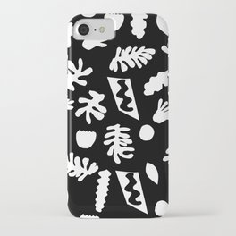 Black and white tropical house plant leaves minimal linocut pattern graphic scandi design iPhone Case