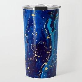 Blue marble and gold abstract - Resumen de mármol azul y oro - Abstrakt aus blauem Marmor und Gold Travel Mug