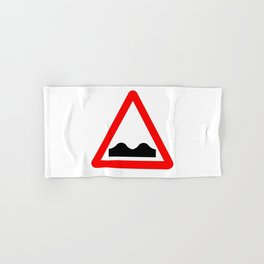 Uneven Road Traffic Sign Isolated Hand & Bath Towel