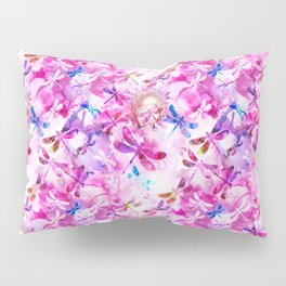 Dragonfly Lullaby in Pink and Blue Pillow Sham