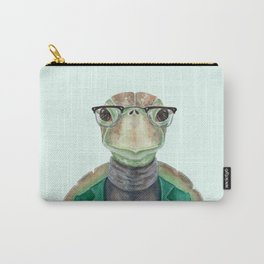 T is for a Turtle in a Turtleneck | Watercolor Turtle Carry-All Pouch