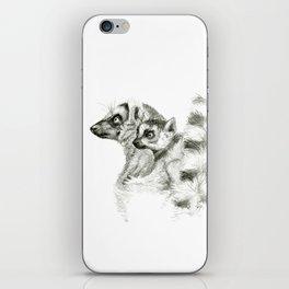 Maki catta and cub iPhone Skin