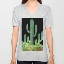 Night Desert Prickly Cactus Bunch Unisex V-Neck