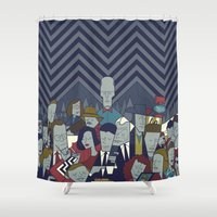 twin peaks Shower Curtains featuring Twin Peaks by Ale Giorgini