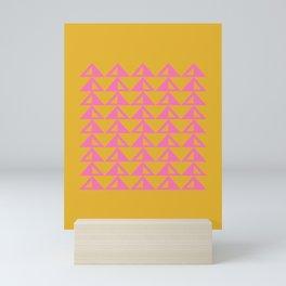 Geometric Triangle Pattern in Sunny Yellow and Neon Pink Mini Art Print