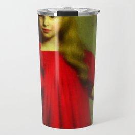 Portrait of a girl in a red dress - Józef Pankiewicz Travel Mug