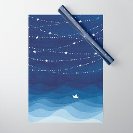 Garland of Stars IV, night sky Wrapping Paper
