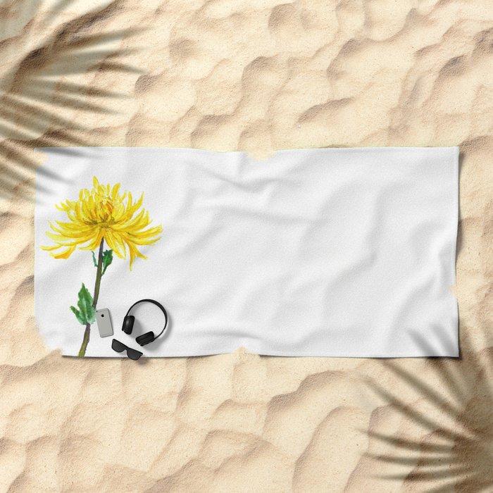 one yellow chrysanthemum Beach Towel