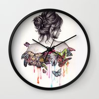 woman Wall Clocks featuring Butterfly Effect by KatePowellArt
