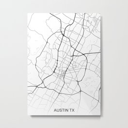 Austin TX Map White USA Metal Print