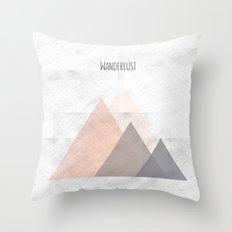 Wanderlust pink mountains Throw Pillow