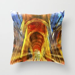 Bath Abbey Sun Rays Van Goth Throw Pillow