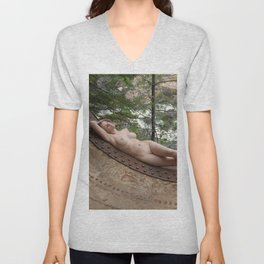 6893-LP Industrial Odalisque Fine Art Nude Woman by the Dead River Unisex V-Neck