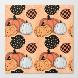Seamless Pattern With Pumpkins.Thanksgiving Day Background. Canvas Print