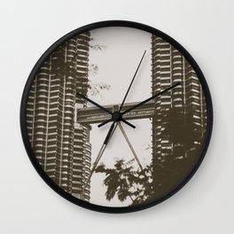 Bridge between Twin Towers Wall Clock