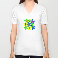 60s V-neck T-shirts featuring Flower Power 60s-70s by dedmanshootn