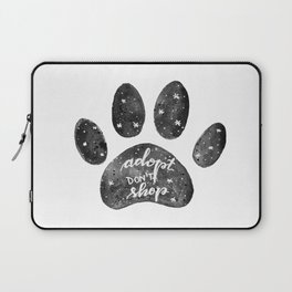 Adopt don't shop galaxy paw - black and white Laptop Sleeve