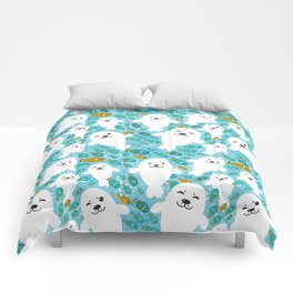 White cute fur seal and fish in water Comforters