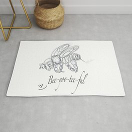 OLena Art Tee Design Bee-yoo-tee-ful Drawing Rug