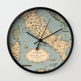1935 Vintage Map of Italy and Vatican City Wall Clock