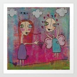 Alien and Fairy friends Art Print