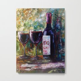 Aged Wine oil painting with palette knife Metal Print