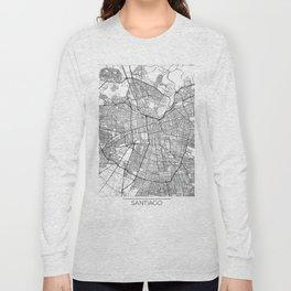 Santiago Map White Long Sleeve T-shirt