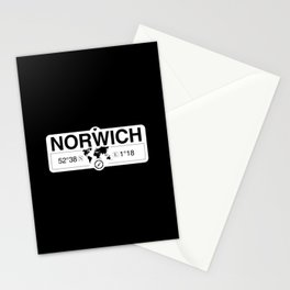 Norwich England GPS Coordinates Map Artwork with Compass Stationery Cards