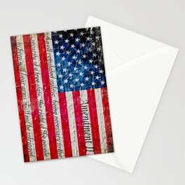 Distressed American Flag and 2nd Amendment On White Bricks Wall Stationery Cards