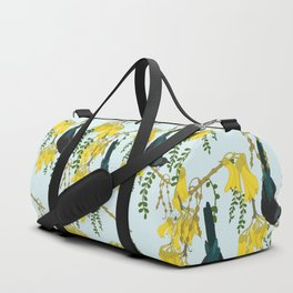 Tuis in the Kowhai Flowers Duffle Bag