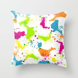 colorful paint blots Throw Pillow