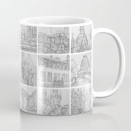 Prague sketches by David A Sutton. 18 piece horizontal. sketchbookexplorer.com Coffee Mug